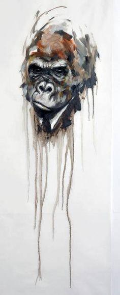 Coeur D'artichaud Watercolor Animals, Watercolor Art, Watercolours, Monkey, Creatures, Sketches, Artwork, Painting, Beautiful