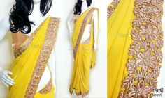 Golden yellow georgette saree CODE: SD095 PRICE: Rs.3190 SAREE: Golden yellow georgette saree with copper coloured intricate zari cutwork border in floral design. BLOUSE: Copper shimmer material