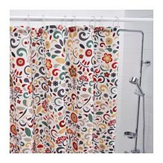 IKEA - ÅKERKULLA, Shower curtain, Densely-woven polyester fabric with water-repellent coating.The elastic sewn into the bottom edge adds weight to the curtain and assures that it hangs straight.