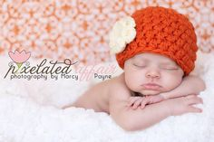 Any SIZE or Color Beanie hat with Double Layer Cream Flower - Fall Baby Newborn Photo Prop Hat Beanie - You pick colors SALE