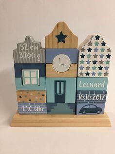 Little Dutch Holz-Stapelhäuser mixed stars mint personalisierbar mit Namen