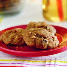 Apple Cookies: 3/4 cup butter, softened 1 cup SPLENDA® No Calorie Sweetener, Granulated 2 teaspoons freshly grated lemon peel 2 teaspoons molasses 2 large eggs 1/2 cup unsweetened applesauce 1/3 cup apple juice concentrate 1 3/4 cups all-purpose flour 2/3 cup old-fashioned oats 1 teaspoon baking soda 1 1/2 teaspoons ground cinnamon 1/8 teaspoon ground nutmeg 1 cup diced fresh apples 1/2 cup raisins ..