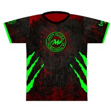 """Motiv Red/Green Claw Dye Sublimated Jersey. Inspired by the Motiv Primal Rage! The green claws truly """"pop"""" against this red/black grunge background!  Motiv logo full front, full back and right sleeve.  Logo Infusion left sleeve."""