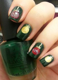Christmas Ornament Nails! the tutorial is up on my blog https://ellanailsblog.wordpress.com/ so go check it out! #nails #nailart #christmasnails #christmasornamentnails #ornaments