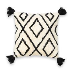 This geometric-style cushion cover is finished with corner tassels and a fluffy feel for comfort and style. Fluffy Cushions, Boho Cushions, Geometric Cushions, Printed Cushions, Cushions On Sofa, White Cushion Covers, Cushion Cover Designs, Cali, Burlap Pillows