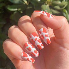 Orange Acrylic Nails, Orange Nails, Cute Acrylic Nails, Glue On Nails, Funky Nails, Trendy Nails, Ballerina Acrylic Nails, Nail Art For Girls, Casual Nails