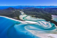 Paradise found: an aerial view over Whitehaven Beach in Queenland's Whitsunday Islands, AUSTRALIA. Image by Yoshio Tomii / Getty Images Airlie Beach, Great Barrier Reef Snorkeling, Santorini, White Heaven, Beach Cove, Hamilton Island, Monuments, Secluded Beach, Paradise Found