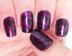 Purple with Black Hearts - Konad Nail Design