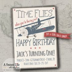 Vintage Airplanes Birthday Party Invitation & Cupcake Toppers - Rustic - Antique Airplanes - Little Boys First Birthday - Blue Plane