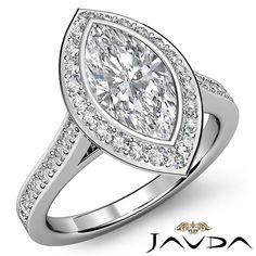 Marquise Diamond Engagement Ring Certified by GIA, F Color & VVS1 clarity, 14k White Gold (1.32 ct. Total weight.)