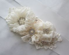 Ivory Bridal Sash, Cream Wedding Belt, Flower Sash, Pearls and Crystals - BASHFUL