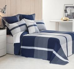 Make your bedroom a calming place with this Jordan Blue Bedspread Set by Bianca. Bed Sheets Online, Cheap Bed Sheets, Blue Bedspread, Matching Bedding And Curtains, Beautiful Bedrooms, Linen Bedding, Bed Linens, Dream Bedroom, Soft Furnishings