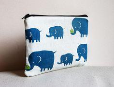 SALE Blue Elephant Pencilcase / Pouch