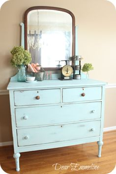 Dear Emmeline: BM Old Pickup Blue Dresser {another DIY chalky paint finish recipe, leg reconstruction, and my very own goofball} Design Furniture, Paint Furniture, Furniture Makeover, Funky Furniture, Diy Chalk Paint Recipe, Blue Dresser, Shabby Chic Bedrooms, Furniture Inspiration, Sweet Home