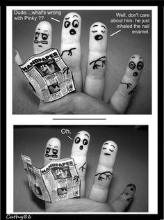 Finger Art: The nail enamel by on deviantART Finger Fun, Finger Hands, Finger Plays, Funny Fingers, How To Draw Fingers, Miniature Photography, Funny People Pictures, Dancing In The Dark, Sketch Inspiration