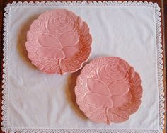 Pink Majolica Lunch Plates Bordallo by CobblestonesVintage on Etsy
