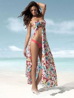 Amazing long dress beach cover up! The slit in this is super gorgeous!!