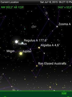 Hoje, por volta das 18:30, quem estiver com um céu limpo observe o terceiro cruzeiro no céu, Lua, Regulus,  Júpiter e Vênus.