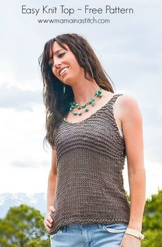 This Easy Knit Tank is perfect for a warm summer day! Make it with Cotton-Ease and this free pattern by Mama in a Stitch!