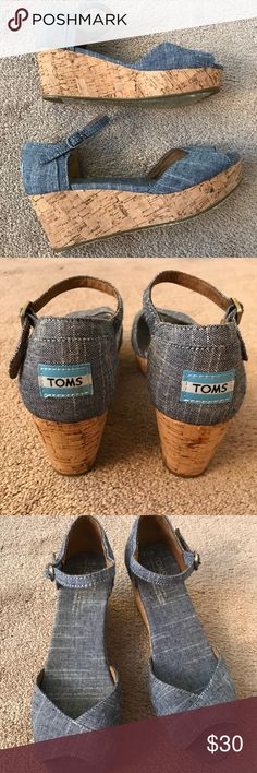 TOMS Platform Wedge Denim Sandals TOMS Platform Wedge Denim Sandals! In still good condition. Size 7.5 W TOMS Shoes Sandals