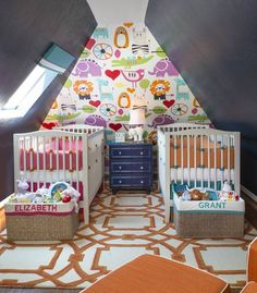 Colorful Boy Twin Nursery Amazing Accent Wall And Use Of Color Toddler