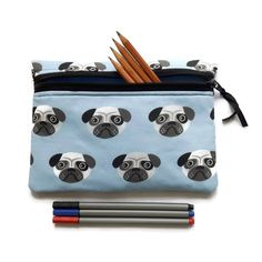 Pug dog Pencil case, cosmetic bag, crochet case