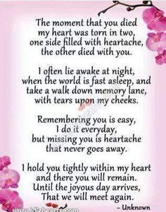 Saying after a loved one has passed on.