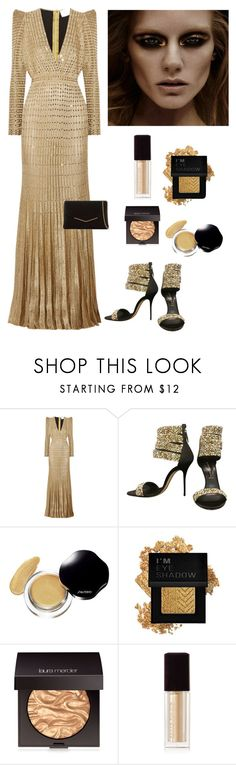 """""""Golden Shimmer"""" by kotnourka ❤ liked on Polyvore featuring beauty, Zuhair Murad, Casadei, David Jones, Forever 21, Laura Mercier, Kevyn Aucoin and KoKo Couture"""