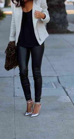 White Moto jacket + black tank + black leggings + metallic pumps. Remove the animal print bag though.