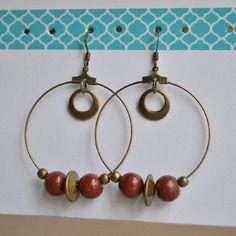 Boucles d'oreilles créoles avec perles rouge