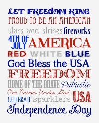 Fourth of July Subway Art {free printable} - How to Nest for Less™ Fourth Of July Quotes, Happy Fourth Of July, July 4th, Slimming World, Hugs, 4th Of July Celebration, Monthly Celebration, 4th Of July Decorations, Americana Decorations