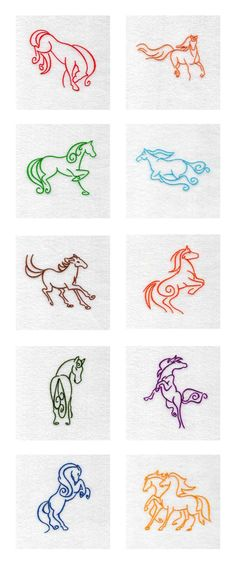 Art Deco Horses Embroidery Machine Design Details -- Would also make splendid #horse #tattoos are website #logos. Design was found at designsbysick.com but I can not find it there now. Custom horse logos can be purchased at Horse-Logos.com