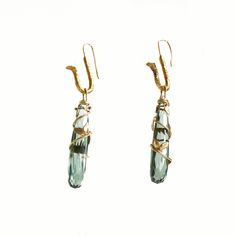 18k Royal Gold and Green Quartz handmade earring charms — Patricia Marie Fine Jewelry