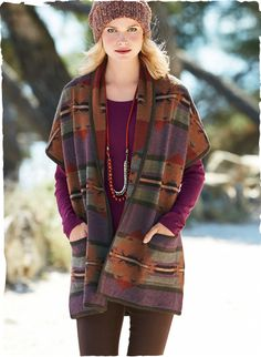 Peruvian Connection | Kilim Blanket Vest Effortless luxury, our double-faced blanket vest is patterned with large-scale kilim graphics in warm, heathered hues of plum, terra cotta, red and shale green.