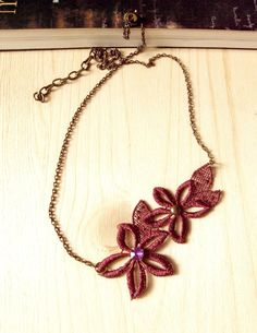 lace necklace  dark red burgundy  floral necklace by LaceFancy, $12.99
