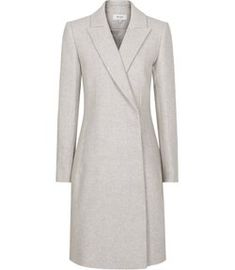 Reiss Santhia - Wool Blend Double Breasted Coat in Grey Melange, Womens, Size 14 Crombie Coat, Reiss Dresses, Wrap Front Dress, Iconic Dresses, Lace Peplum, Double Breasted Coat, Work Looks, Wool Coat, Dress Collection