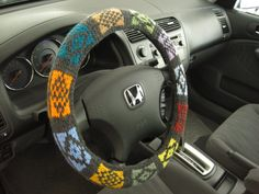 Knit Steering Wheel Cover/Cozy-dark grey with 11 other colors Wheel Cover, Yarn Crafts, Car Accessories, Dark Grey, Hand Knitting, Cozy, Crochet, Awesome, Colors