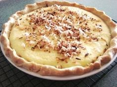 Coconut Custard Pie topped with Toasted Coconut Recipe