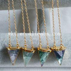 WT-N630 Beautiful rainbow fluorite triangle pendant fashion