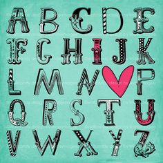 I love you alphabet nursery and girls wall art - ABC I heart U room decor