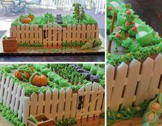 vegetable garden cake I am going to make this year. Vegetable Garden Cake, Peter Rabbit Cake, Colorful Birthday Party, Easter Party, Rabbit Garden, Garden Baby Showers, Farm Cake, Icing Techniques, Garden Cakes