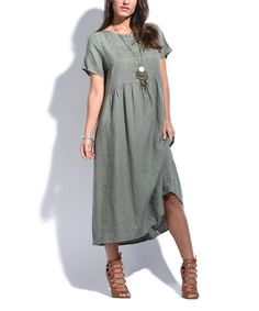 Look at this Couleur Lin Khaki Textured Pocket Linen Shift Dress on #zulily today!