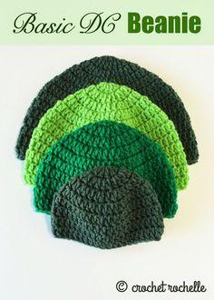 Basic DC Beanie Pattern - new from CrochetRochelle.com #crochet #freepattern