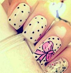 Beautiful #Nails with #bows #manicure #nailart #naildesign #nailpolish