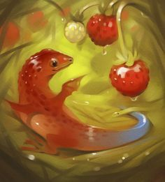 "Fruit Dragons, les créatures ""fantasy"" de GaudiBuendia : strawberry"