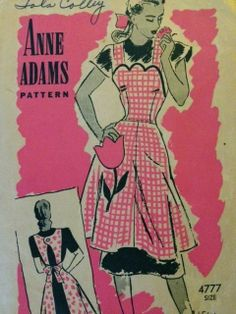 Anne Adams 4777 Vintage 1940s Sewing Pattern Apron 50's 40's Mail Order Size Med | eBay