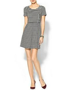 With suede flats and a few chunky bracelets! | Skies Are Blue Stripe Ponte Dress - Piperlime