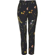 TOPSHOP Floral Cigarette Trousers ($75) ❤ liked on Polyvore featuring pants, trousers, black, tailored pants, retro pants, flower print pants, black cigarette pants and floral printed pants