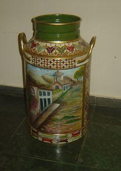 Metal Milk Jug, Painted Milk Cans, Metallic Paint, Home Deco, Metal Art, Painted Rocks, Folk Art, Latte, Tableware