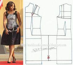 Modelagem do vestido de Michelle Obama. Fonte: https://www.facebook.com/photo.php?fbid=676678299027778=a.262773027084976.75978.143734568988823=1